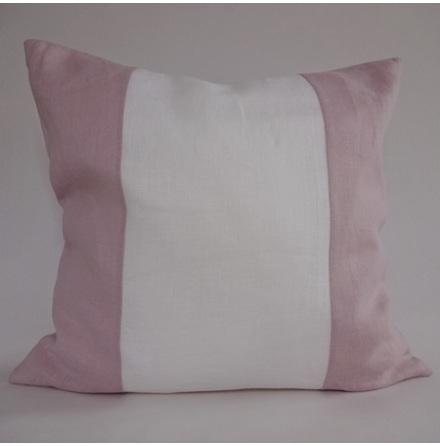 Randigt kuddfodral vitt och rosa