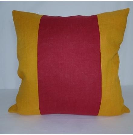 Randigt kuddfodral rött och orange