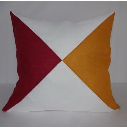 Triangelmönstrat kuddfodral multi vitt och orange